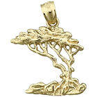 New Solid 14Kt Gold Elm Bonsai Tree Pendant 18 Grams