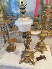 VINTAGE ORNATE CHERUB METAL ELECTRIC TABLE LAMP FROSTED GLASS GLOBE 26 TALL