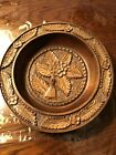 HANDARBEIT Germany Deep Repousse WOOD BOWL Hand Carved Flower 10.25