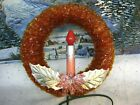 Vintage Red Cellophane Lighted Christmas Wreath  909