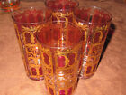 4 Vintage Culver Valencia 22k Gold And Cranberry High Ball Glasses