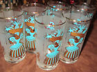 Set of 6 Vintage MCM Tiki Island Tumblers High Ball Glasses Gold and Teal