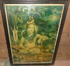 VINTAGE OLD COLLECTIBLE WALL HANGING LITHO PRINT OF LORD UMAPATI JAY SHANKER