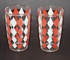 Vintage 4 oz Shot Juice Cocktail Glasses Lot of 2 Mid Century Harlequin Diamond