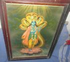 VINTAGE OLD COLLECTIBLE WALL HANGING LITHO PRINT OF LORD KRISHNA