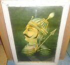 ANTIQUE OLD COLLECTIBLE WALL HANGING LITHO PRINT OF MAHARANA PRATAP