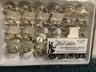 WEDDING CELEBRATION BELL FAVORS STUDIO HIS  HERS 24 SILVER 1 3 8 X 1 3 4NIB