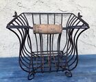 LARGE ANTIQUE RUSTY WROUGHT IRON BASKET RUSTIC / PRIMITIVE LOG HOLDER