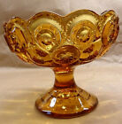 STARS BOWL COMPOTE FOOTED AMBER GLASS SCALLOPED RIM