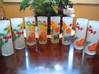 8-FEDERAL GLASS FROSTED FRUIT GLASS/TUMBLERS