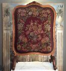 Antique Hand Carved Walnut Victorian Needlepoint Fireplace Screen