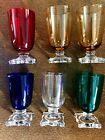 Set (6) of Colorful Art Deco Cordial Glasses - red cobalt amber green clear (b7)