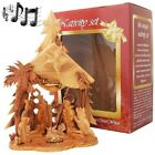 Boxed Musical Olive Wood Nativity from Bethlehem Silent Night Star