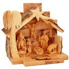 Nativity Scene Bethlehem Olive Wood Natural Olive Wood Barked Roof 48 inch