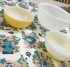 Fire King Anchor Hocking White Milk Glass Lot : Mixing Bowl and (2 )Cereal Bowls