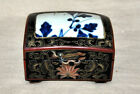 VINTAGE Chinese Lacquer Box With Hand Painted Porcelain Top  GREAT CONDITION