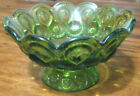 Vintage Green Thumbprint Footed Glass Pedestal Bowl Candy Dish