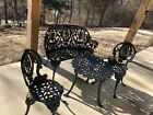 Vintage Cast Iron Garden Patio Bench Chairs And Table Neoclassical Design