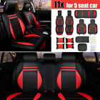 Deluxe Pu Leather Car Seat Cover 5 Seats Suv Front Rear Wpillows Cushions Set