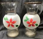 Vintage BARTLETT COLLINS Gay Fad FROSTED Clear VASES Red POINSETTIA Hand Painted