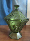 ANCHOR HOCKING OCTAGINAL GREEN COVERED COMPOTE GRAPES AND LEAVES