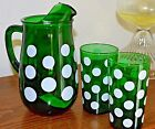 Anchor Hocking 36 Oz. Green Polka Dot Pitcher and 2 Glasses