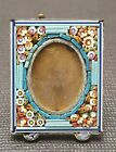 ANTIQUE ITALIAN MICRO MOSAIC FLORAL PICTURE FRAME EASEL BACK PASTEL COLORS ITALY