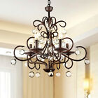 Wrought Iron and Crystal 5-light Chandelier Hanging Fixture Entry Dining Foyer