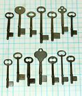14 Genuine Vtg Antique Old Uncut Blank Skeleton Pass Key Keys lot lock Steampunk