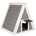 Petsfit Triangle Wooden Cat House with Back Escape Door, Front Door with Eave to