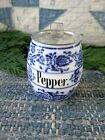 Early Antique German Blue China Spice Jar w Tin Lid Pepper