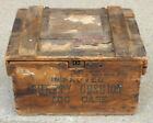 Antique Wood Egg Crate Hinged Lid with American Express Label 2 Cent Stamps