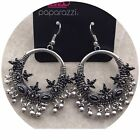 Paparazzi Musical Mantras Black and Silver Tone Earrings Silver