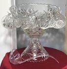 Anchor Hocking Early American Prescut Glass Punch Bowl Stand 10 Cups Hooks Ladle