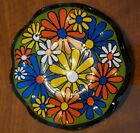 RARE vintage 60-70's Retro Daisy Glass Candy Dish Multi Color Flowers Hippie