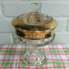 Vintage Indiana Glass Kings Crown Gold Trim Candy Dish or Footed Bowl