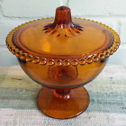 Vintage Indiana Amber Glass Beaded Edge Covered Bowl Footed Candy Dish