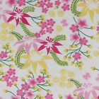 2 Yards Pretty Floral Flannel Pink Yellow Green White Lilies 100 Cotton Fabric