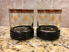 2 Mid Century Modern Low Ball Snowflake Black and Gold Ribbed Glassware Tumblers