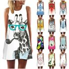 Womens Animal 3d Print Mini Dress Sleeveless Summer Casual Party Tank Top Shirt
