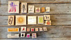 Wood mounted rubber stamp lot Christmas Alice and Wonderland Holiday