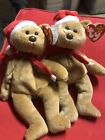 Set Of 2Ty BEANIE BABY 1997 (1996) Holiday Bear Style# 4200 WITH MULTIPLE ERRORS