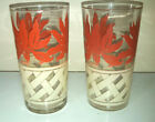 set of 2 Vtg mid century Red Floral Lily White Glass Tumbler Red White Flower