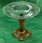 VINTAGE AMBER AND CLEAR GLASS COMPOTE ( 2 OF 2 )