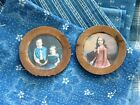 Two Tiny Antique Wood Doll Plates with Old Photo Prints Children Free Shipping