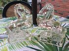 1940s L E Smith Clear Glass Horse Bookend Statues Rare Stallion Rearing Pair.