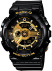 Casio Baby G Shock BA110-1A Women's Black and Gold Watch New