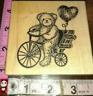 Teddy bear Im bike heart balloon a stamp in the hand501woodrubber stamp