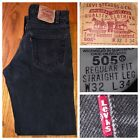 Vtg Levis 505 Black Regular Fit Straight Leg Red Tab Mens Jeans Size 32 X 33