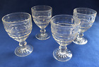Set of 4 Clear Glass Water Goblets, Ice Cream Sundae Dishes, Vintage Footed 5.5